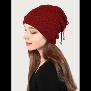 Dual-purpose Drawstring Detail Knit Hat